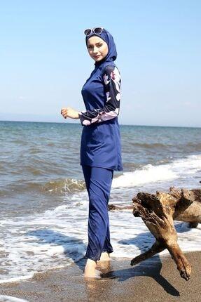 Marina Kadın Lacivert Kolları Desenli Tam Kapalı Tesettür Mayo R1008