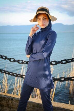 Marina Kadın Lacivert Etek Ucu Inci Detaylı Tam Kapalı Tesettür Mayo R1013