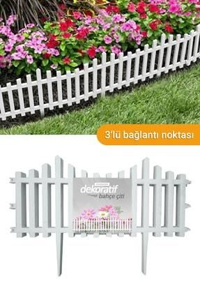Morpanya Dekoratif Bahçe Çiti Bordür Plastik Çit 59 Cm Tek Peyzaj Koruma Panel Beyaz Dd618