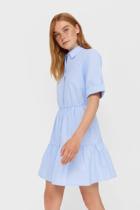 Stradivarius Kadın Lacivert Kısa Gömlek Elbise