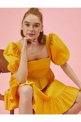 Koton Kadın Sarı Balon Kol Pamuklu Elbise