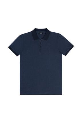 Avva Erkek Açık Lacivert Polo Yaka Yarım Fermuarlı Jakarlı T-shirt A11y1139