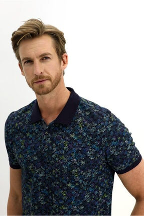 Kiğılı Polo Yaka Desenli Slim Fit Tişört