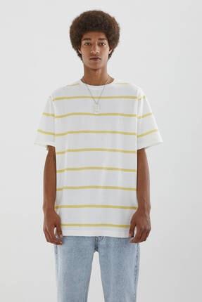 Pull & Bear Erkek Sarı Çizgili Kısa Kollu T-shirt
