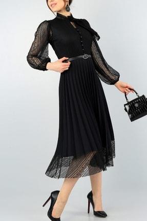 lovebox Pilise Detay Kemerli Tasarım Uzun Kollu Siyah Dantel Abiye Elbise 57834