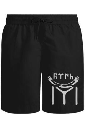 Lord T-Shirt Unisex Siyah Türk Kayı Boyu Bayrak - Logo Şort