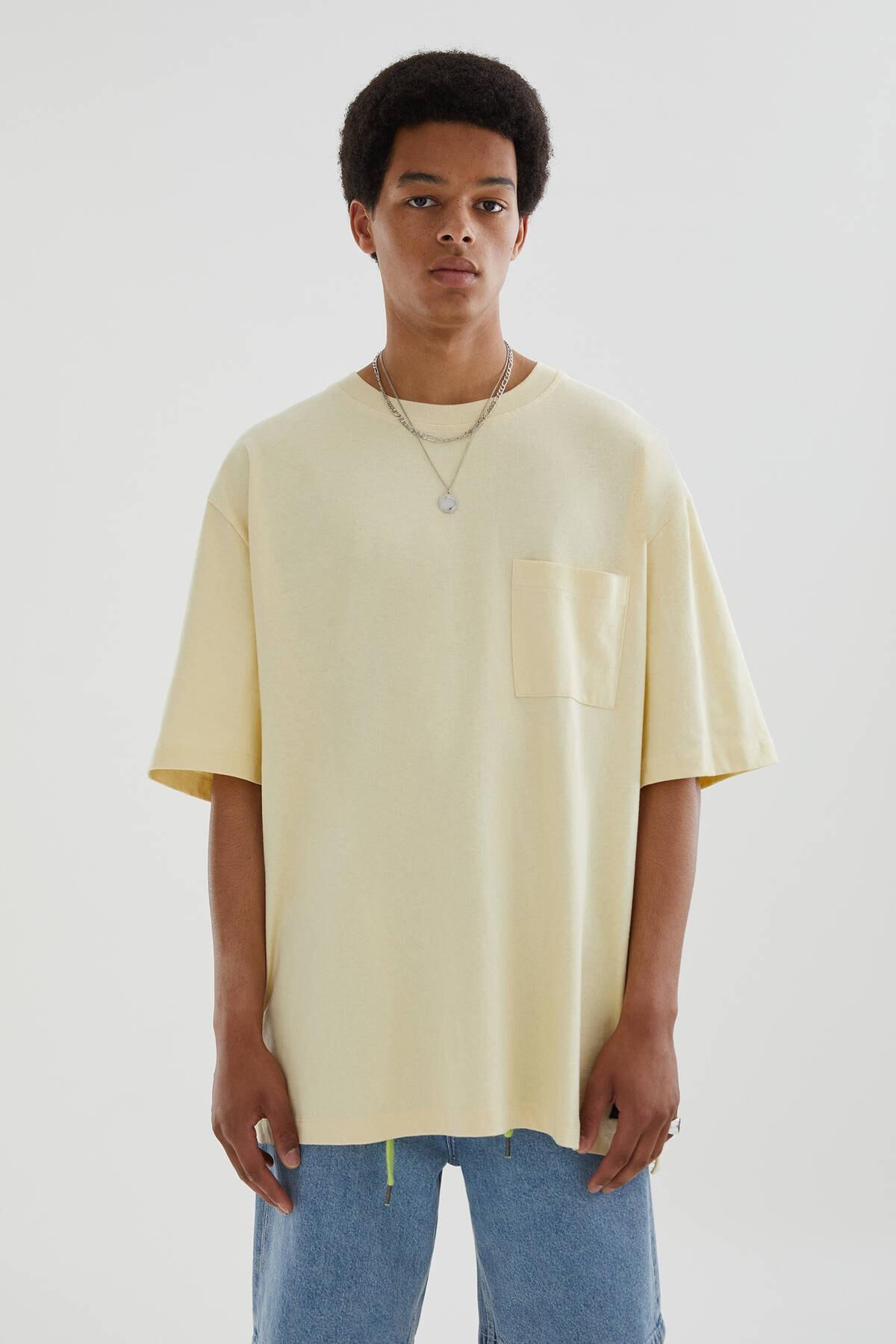 Pull & Bear Erkek Premium Kumaş Oversize T-Shirt 04241595