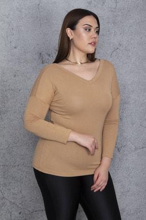Şans Kadın Camel V Yakalı Bluz 65N25812