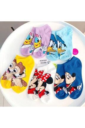Pofudy Socks Kadın  Sevimli Disney Karakterler Pamuklu Çorap Seti 5'li
