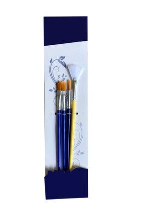 Tek Çatı 4'lü Sanatsal Yağlı Boya Fırça Seti (yelpaze Fırça - Karışık Fırça Seti Resim Fırçası Guaj Yağlı