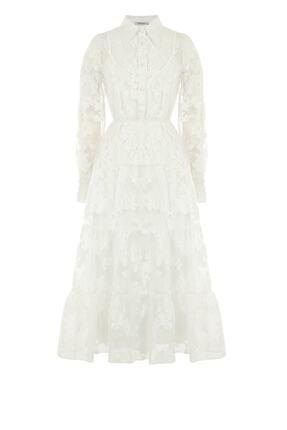 Nocturne Kadın Beyaz Jakarlı Organze Elbise