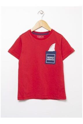 LİMON COMPANY Erkek Çocuk Kırmızı Baskılı Tişört