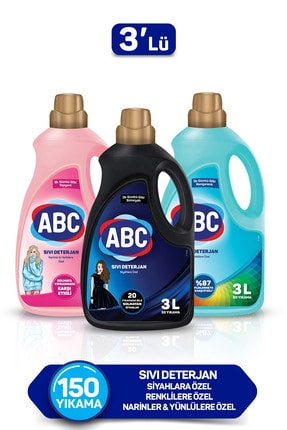 ABC Özel Sıvı Deterjan Bakım Seti 3 lt Siyahlar + Renkliler + Narinler 3'lü Set
