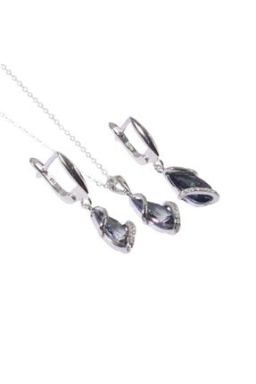Som Gümüş & Tesbih 925 Ayar Gümüş Mistik Topaz Doğal Taşlı Set