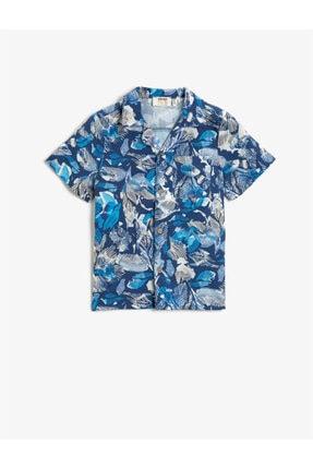 Koton Erkek Çocuk Mavi Kısa Kollu Baskilli Pamuklu Gömlek