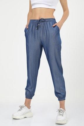 MD trend Kadın Lacivert Kot Görünümlü Paça Lastikli Tensel Jogger Pantolon
