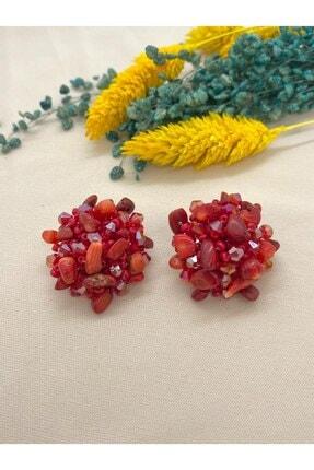 Defne Aksesuar Kadın Kırmızı Mercan Doğaltaşlı Kristalli Küpe