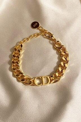 X-Lady Accessories Kadın Gold Cd Harfli Christian Dior Model Kalın Zincir Bileklik Altın Renk