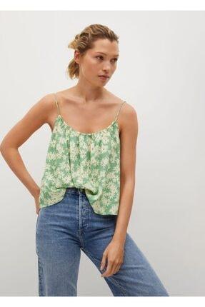 MANGO Woman Kadın Yeşil Çiçekli Bluz