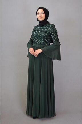 Karin Kadın Yeşil Tesettür İspanyol Kol Kemerli Abiye 3913