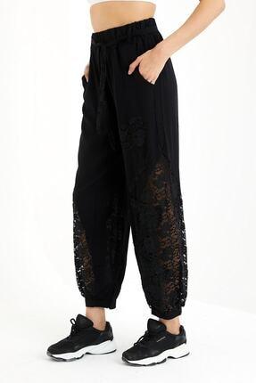 Cotton Mood Kadın Siyah Dantel Detaylı Cepli Şalvar Pantolon 21120008