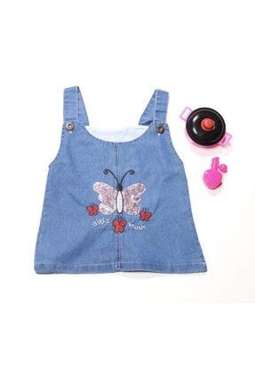WİAWORK Kız Çocuk Mavi Kot Nakışlı Slopet Elbise