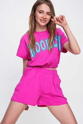 Trend Alaçatı Stili Kadın Fuşya Baskılı Crop Alt Üst Şortlu Takım MDA-1194