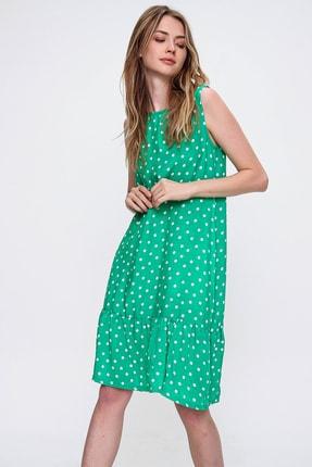 Trend Alaçatı Stili Kadın Yeşil Eteği Volanlı Desenli Kolsuz Elbise ALC-019-031-001