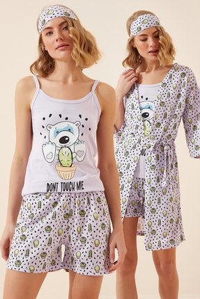 Happiness İst. Kadın Açık Lila Baskılı 5'li Set Örme Pijama Takımı NL00016