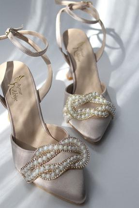 BirEylül Shoes Kadın Saten Düğüm Taş Detaylı Abiye Topuklu Ayakkabı