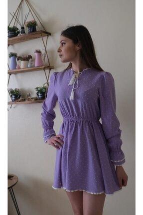 Hars Trade Kadın Lila Işlemeli Mini Elbise