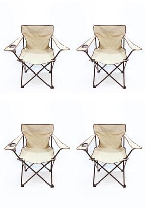 Walke 4 Lü Katlanabilir Kamp Sandalyesi Piknik Sandalyesi Plaj Sandalyesi Taşıma Çantalı Krem