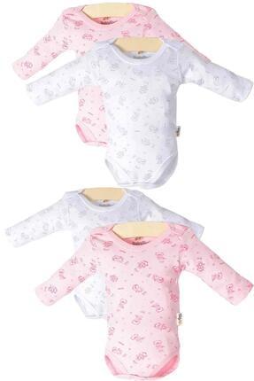 Pattaya Kids Kız Bebek Beyaz Çıtçıtlı Uzun Kollu 4lü Zıbın Takımı 0-36 Ay Ptk20s-407