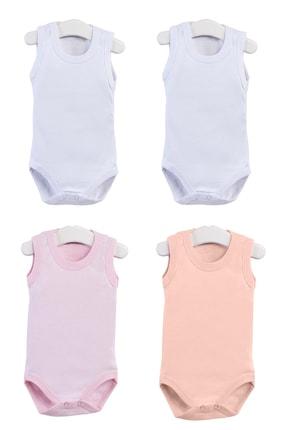 Pattaya Kids Kız Bebek Pembe Beyaz Somon Kolsuz Çıtçıtlı Body Ptk20s-403