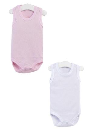 Pattaya Kids Kız Bebek Pembe Beyaz Kolsuz Çıtçıtlı Body 0-36 Ay