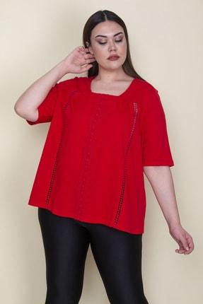 Şans Kadın Kırmızı Pamuklu Kumaş Dantel Detaylı Bluz 65N25774