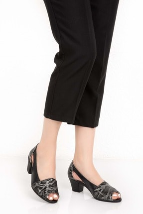 Gondol Kadın Siyah Hakiki Deri Yılan Desen Topuklu Ayakkabı Vdt.261 - Siyah - 35