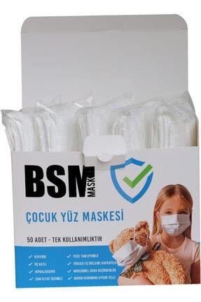 BSM Extra Hijyenik 10'lu Paket Beyaz Meltblown Medikal Çocuk Maskesi 50 Adet