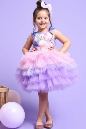 Riccotarz Kız Çocuk Elsa Tütülü Katkat Renkli Elbise