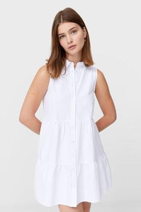 Stradivarius Kadın Beyaz Kolsuz Gömlek Elbise
