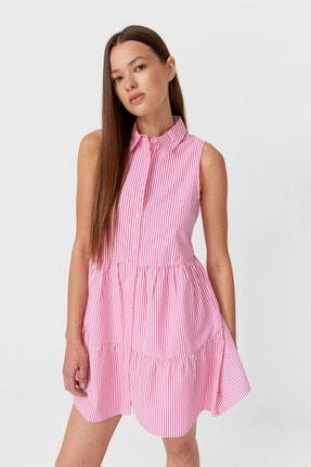 Stradivarius Kadın Pembe Çizgili Gömlek Elbise