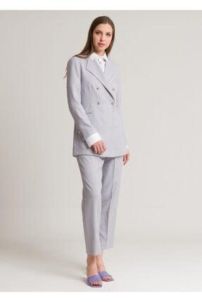 Armağan Kadın Gümüş Kruvaze Kapama Pilili Pantolonlu Takım