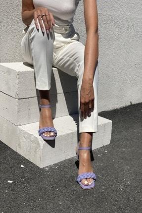 İnan Ayakkabı Kadın Lila Bilekten Tokalı Örgülü Topuklu Ayakkabı