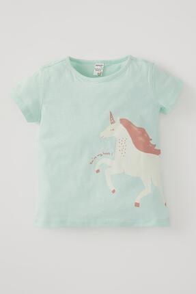 DeFacto Kız Bebek Unicorn Baskılı Kısa Kollu Pamuklu Tişört