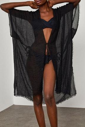 XENA Kadın Siyah Yanı Yırtmaçlı Bürümcük Kumaş Pareo 1YZK4-11827-02