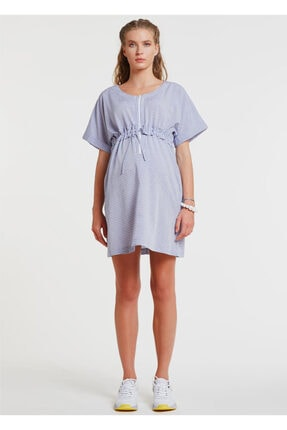 GEBE Göbek Üstü Ayarlanabilir Kuşaklı, Emzirme Detaylı Hamile Elbisesi - Dress Tera