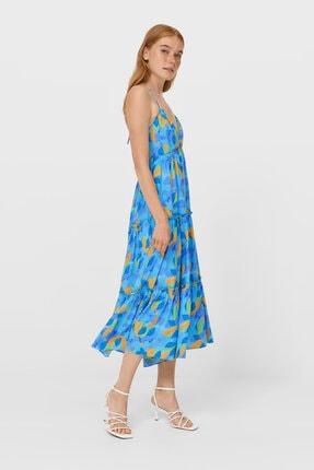 Stradivarius Kadın Mavi Boyundan Bağlamalı Askılı Uzun Elbise