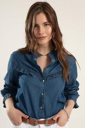 Pattaya Kadın Fırfırlı Uzun Kollu Kot Gömlek Y20s110-3799