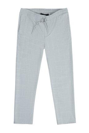 Avva Erkek Açık Gri Yandan Cepli Beli Lastikli Kordonlu Kareli Relaxed Fit Pantolon E003002