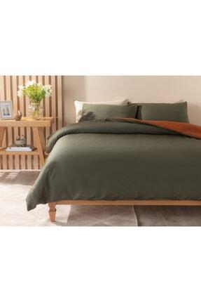 English Home Plain Pamuk Tek Kişilik Nevresim Takımı 160x220 Cm Yeşil-turuncu